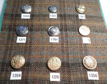 Vintage Card of Metal UNIFORM Buttons Old Buttons 9 Buttons