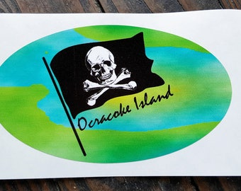 Ocracoke Island Pirate sticker Turquoise Lime green for your car, golf cart or bike UV vinyl skull
