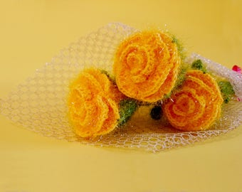 Wool Flowers 3 pcs
