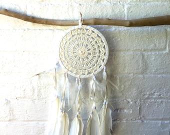 Crochet Dream Catcher, Cream Cotton Crochet, Gift Idea - 15cm - Code: A001
