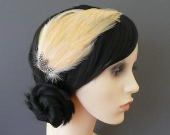 Barley Pale Gold Feather Fascinator Golden HAIR CLIP Bridesmaids Hair Accessory Handmade Wedding 'Gwen'