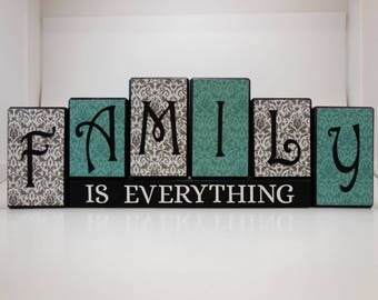 Family is Everything Wood Block Set with Antique Blue and Gray Look