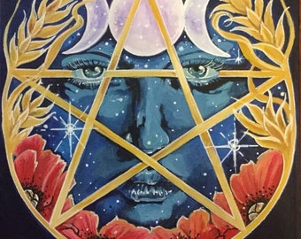 Goddess Pentacle Greeting Card