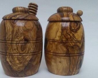 Olive Wood Honey Pot, Honey Jar, Honey Dipper, Honey Stick