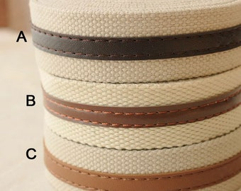 2 yards x 30mm Cotton Heavy Canvas Webbing with PU Leather Trimming for Bag Project   - CW05-30P