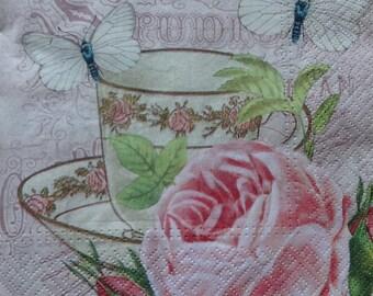 4 Decoupage Napkins, Romantic Paper Napkins, Lunch Napkins, Tea Party Napkins, Napkin for Decoupage, Pink Napkins, Rose Napkin (TEA CUP)