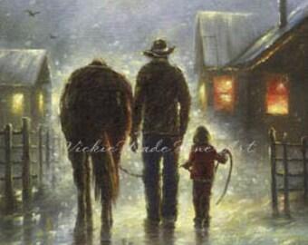 Cowboy Dad & Daughter Art Print,  father daughter art. cowboy paintings, cowboy images western farmer horse, farmer, Vickie Wade art