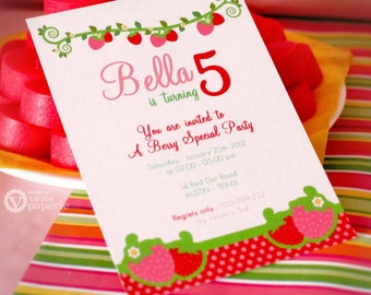 DIY PRINTABLE Invitation Card - Red Pink Berry Strawberry Birthday Party - PS803CA1a1