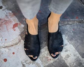 SALE, Leather Sandals, Black Summer Shoes, Handmade Sandals, Black Slingbacks, Greek Sandals, Summer Flats, Black Sandals, Jolie