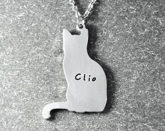 Free shipping - Customized cat necklace , animal necklace in handmade ,cat pendant , cat necklace