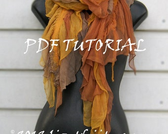 Instant Download PDF Feltmaking tutorial - Nuno Felted Scarf - Seaweed - DIY - How to Make It Yourself