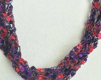 NEW! Red Hats - Hand Crocheted Necklace