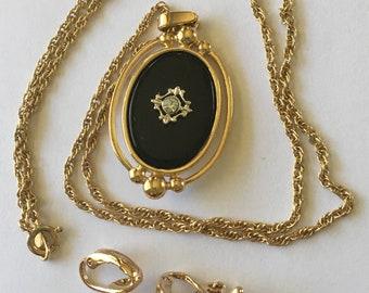 Vintage Avon Necklace Earrings Black Cabochons Rhinestones Clip Ons