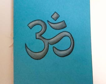 Om double-sided notebook, blue