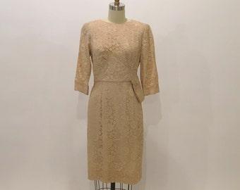 "Vintage 1950s Beige Lace Cocktail Dress | Draped Hip | Lady Franklin | 27"" Waist"