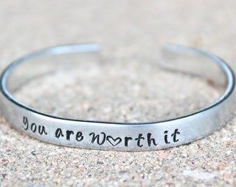 You're Worth It Bangle, You are worth it bracelet, Inspirational Jewelry, Inspirational Bracelet, Your worth it bracelet, You're worth it