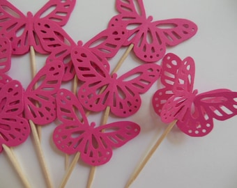 Butterfly Cupcake Toppers - Raspberry Pink - Baby Showers - Birthday Party Decorations - Bridal Showers - Set of 12