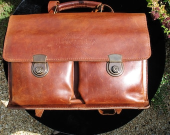 "A Good Vintage Brown Leather Briefcase/ Messenger Bag/ Satchel/ Backpack/ Laptop Bag ~ ""Hudson Bay Trading Company Canada"""