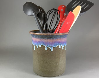 Brownish Green, Utensil Holder, Kitchen Crock, Kitchen Organizer, Spoon Holder