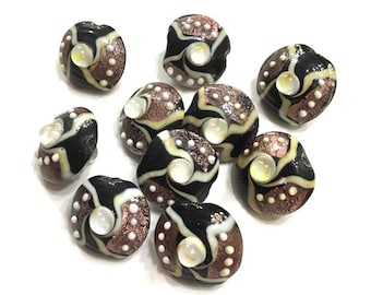 1 piece 20mm Black and Purple Lampwork Glass Foil Saucer Beads