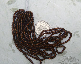 Vintage Glass 3 cut Seed Beads - Size 12/o Mini Hank in Transparent Silverlined Root Beer Brown