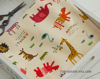 Animal Canvas Cotton Fabric, Kids Cute Colorful Animal Carnival Elephant Giraffe Lion- 1/2 yard