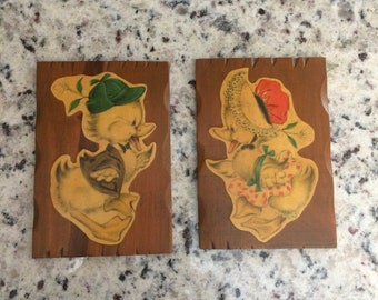 Whimsical Boy and Girl Duck Plaques
