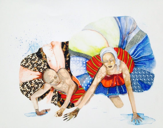 Print Art Painting Watercolor Haitian Dancers Giclee Print Collage Giclee Canvas Paper Textile Collage