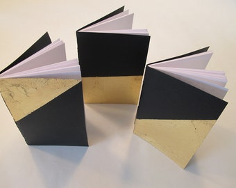 Gold Metal Leaf Wedding Vow Books: Set of Three Black and Gold Metallic Pocket Notebooks Cahier