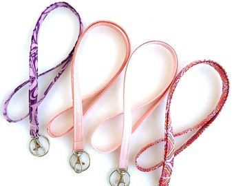 pink and purple fabric lanyard, ID badge holder, long keychain, student or teacher gift, graduation gift, lanyard with swivel clip