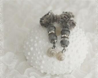 mermaid couture - sea silk ear adornments - blue silk shell - sale!