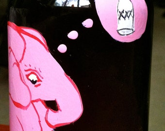 Hand Painted Glass Pink Elephant With Drinking On It's Mind Handpainted Upcycled