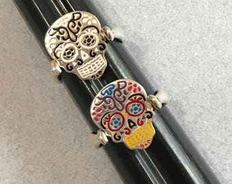 Reversible Hand Painted SUGAR SKULL Dia de Muertos Mexican 925 Sterling Silver Ring Size 6
