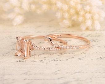 6×8mm Emerald Cut Engagement Ring,Emerald Cut Morganite Ring Set,Morganite Engagement Ring,Thin Diamond Wedding Matching Band,Bridal Set