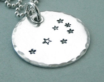 The Pleiades, the Seven Sisters - Hand Stamped Constellation Necklace - Sterling Silver