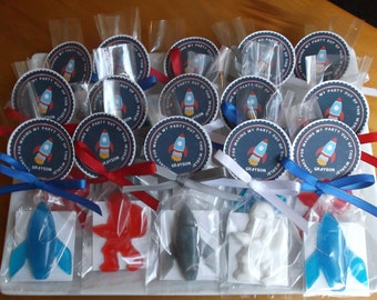 Astronaut Birthday - Astronaut Party, Outer Space Party, Rocket Ship, Space Birthday, Party Favors, Soap - Set of 15