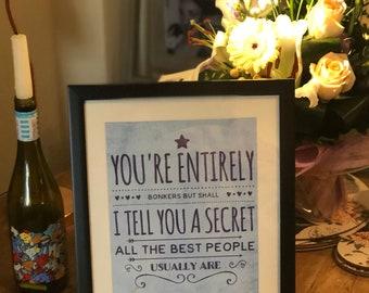 Framed Alice in Wonderland art/quote