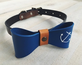 Leather Anchor Bow Tie
