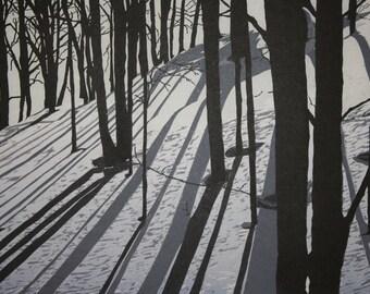 Silhouettes  Woodblock print
