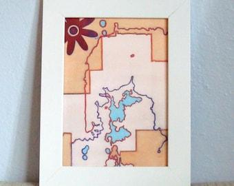 Abstrakte Kunst Gesicht Karte Blume Orange blau rot mit Block-Druck 5 x 7 digitale Kunstdruck