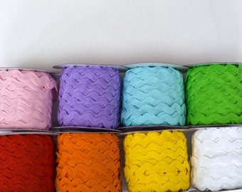 40 Yards of Jumbo Ric Rac, 1/2 inch polyester, 8 Color Bundle, 5 yds. of each