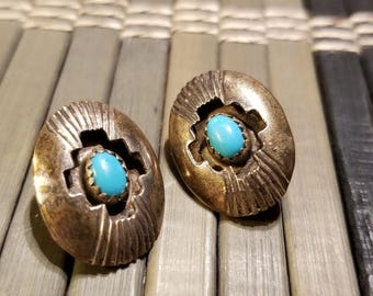 Vintage Sterling silver turquoise native American navajo singed clip on shadow box earrings.