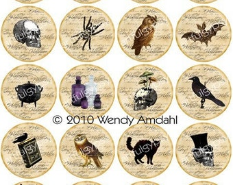 Halloween, Digital Graphics, Illustration, Halloween Themed,  2 inch Round Circles, Instant Download, Collage Sheet,