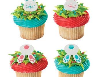 Bunny Cupcake Toppers, Bunny Rabbit Cupcake Rings, Easter Cupcake Toppers, Spring Cupcake Toppers, Baby Shower Cupcake Toppers, Easter Bunny