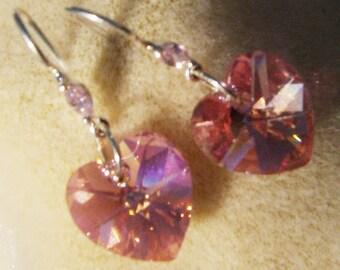 Handmade Swarovski Earrings - Sterling Silver Swarovski Ear Wires, Beautiful Pink Crystal Hearts by JewelryArtistry - E466
