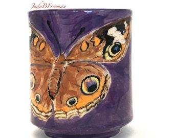 Ceramic Butterfly Cup Tumbler Common Buckeye on Amethyst Stoneware Handmade Wheel Thrown Ready to Ship MG0065