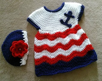 Anchors away crocheted baby dress and hat