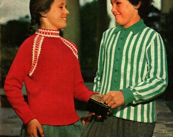 Vintage 1960s knitting patterns for Girls 5 - 16 years sweaters pullovers cardigans