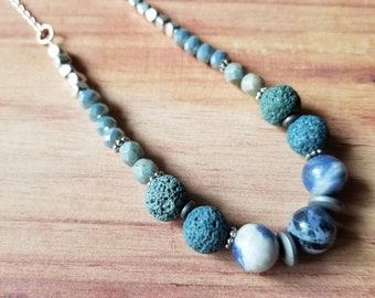 Sodalite Lava Diffuser Necklace *OOAK*, beaded necklace, lava diffuser, sodalite necklace, blue necklace, earthy, boho jewelry, eclectic