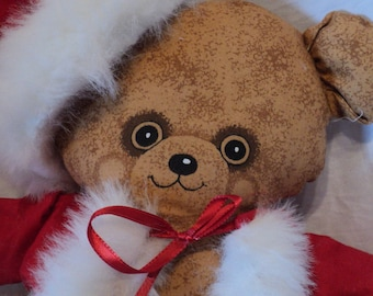 Christmas Santa teddy bear 18 inches made from a preprinted fabric panel trimmed with fur cloth